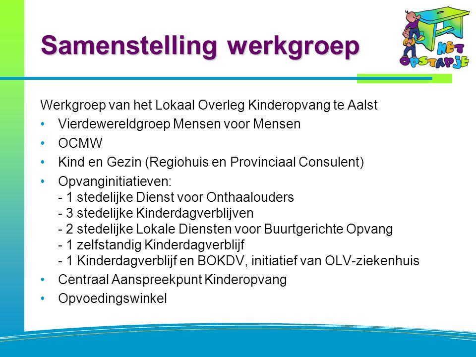 Samenstelling werkgroep Werkgroep van het Lokaal Overleg Kinderopvang te Aalst Vierdewereldgroep Mensen voor Mensen OCMW Kind en Gezin (Regiohuis en P