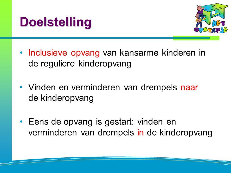 Doelstelling Inclusieve opvang van kansarme kinderen in de reguliere kinderopvang Vinden en verminderen van drempels naar de kinderopvang Eens de opva