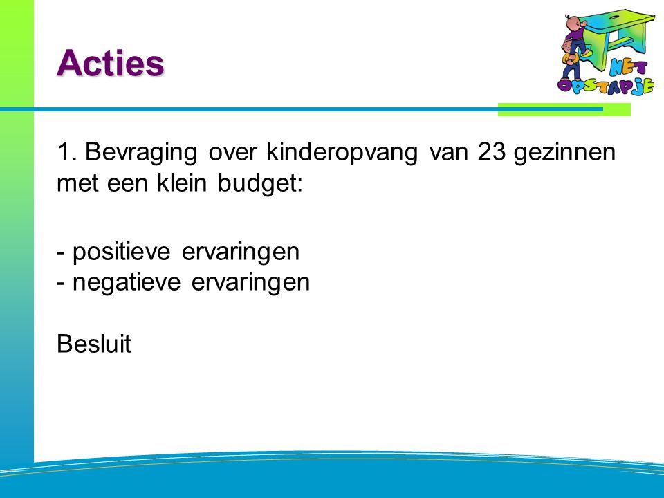 Acties 1. Bevraging over kinderopvang van 23 gezinnen met een klein budget: - positieve ervaringen - negatieve ervaringen Besluit