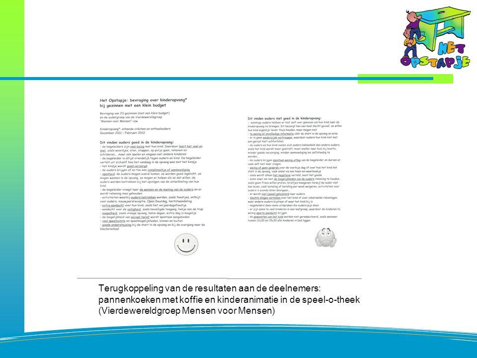 Resultaat bevraging Terugkoppeling van de resultaten aan de deelnemers: pannenkoeken met koffie en kinderanimatie in de speel-o-theek (Vierdewereldgroep Mensen voor Mensen)