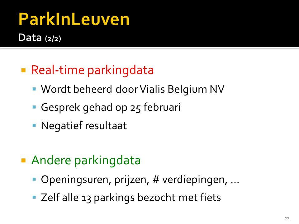  Real-time parkingdata  Wordt beheerd door Vialis Belgium NV  Gesprek gehad op 25 februari  Negatief resultaat  Andere parkingdata  Openingsuren, prijzen, # verdiepingen, …  Zelf alle 13 parkings bezocht met fiets 11