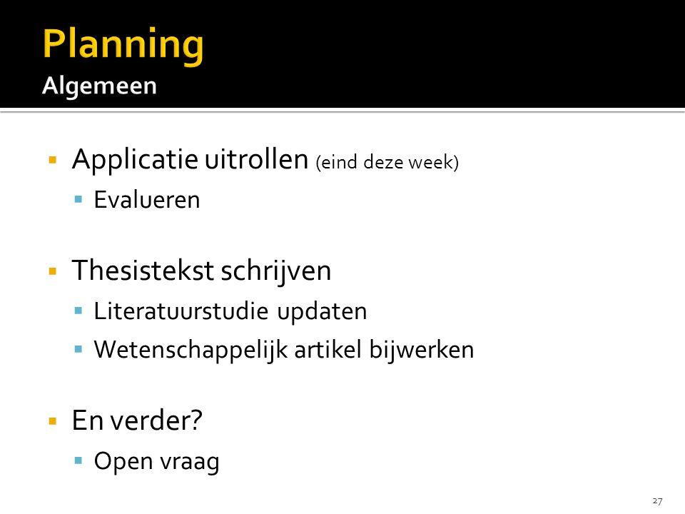 Applicatie uitrollen (eind deze week)  Evalueren  Thesistekst schrijven  Literatuurstudie updaten  Wetenschappelijk artikel bijwerken  En verde