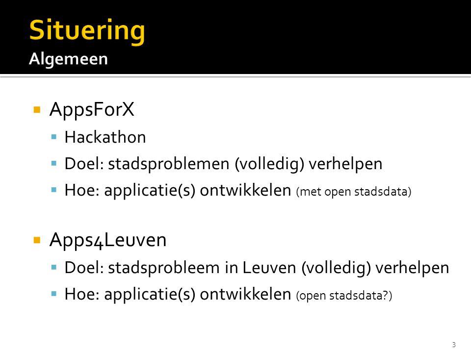  AppsForX  Hackathon  Doel: stadsproblemen (volledig) verhelpen  Hoe: applicatie(s) ontwikkelen (met open stadsdata)  Apps4Leuven  Doel: stadsprobleem in Leuven (volledig) verhelpen  Hoe: applicatie(s) ontwikkelen (open stadsdata ) 3
