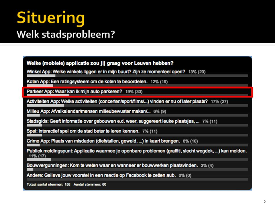  Situering  ParkInLeuven  Rapid Prototyping  Planning  Score  Statistieken 26