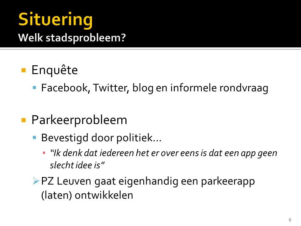  Enquête  Facebook, Twitter, blog en informele rondvraag  Parkeerprobleem  Bevestigd door politiek… ▪ Ik denk dat iedereen het er over eens is dat een app geen slecht idee is  PZ Leuven gaat eigenhandig een parkeerapp (laten) ontwikkelen 6