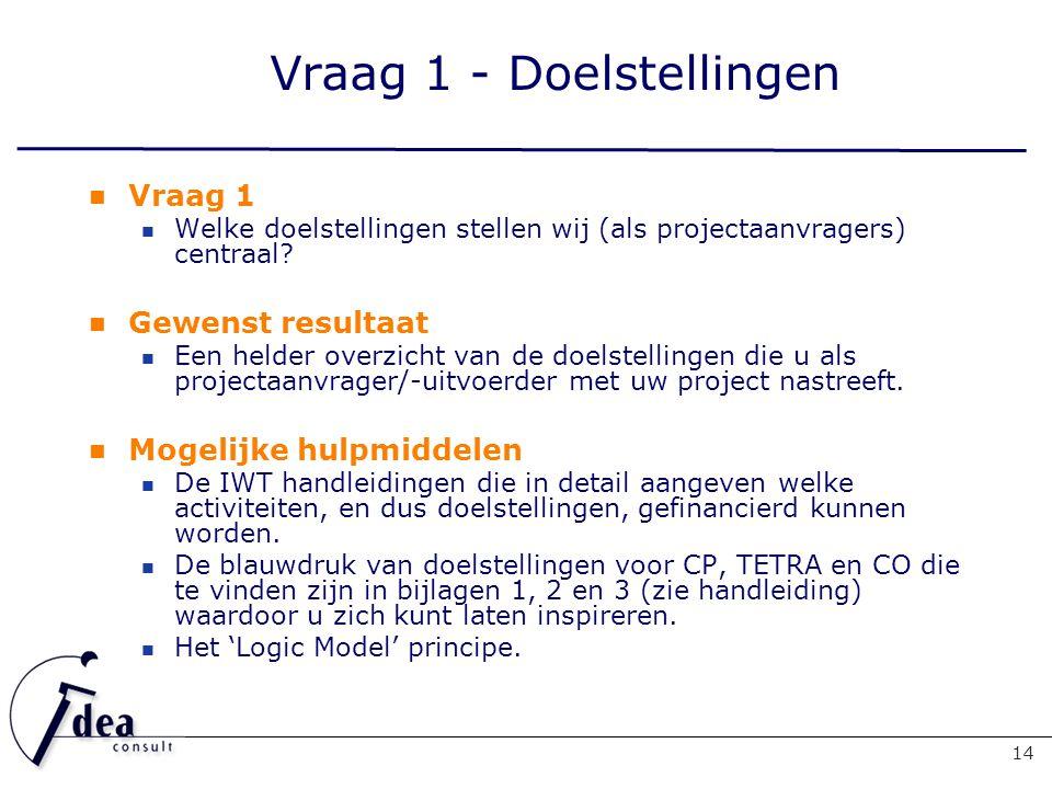 Vraag 1 - Doelstellingen 14 Vraag 1 Welke doelstellingen stellen wij (als projectaanvragers) centraal.