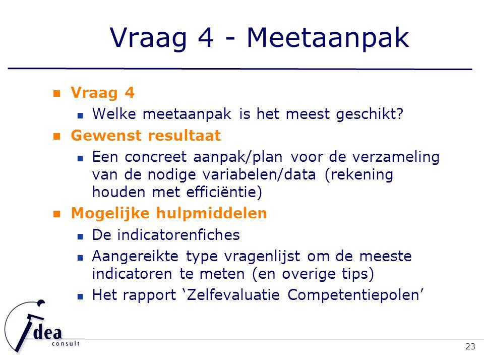 Vraag 4 - Meetaanpak Vraag 4 Welke meetaanpak is het meest geschikt.