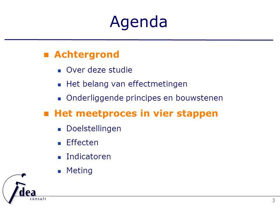 Agenda Achtergrond Over deze studie Het belang van effectmetingen Onderliggende principes en bouwstenen Het meetproces in vier stappen Doelstellingen Effecten Indicatoren Meting 3