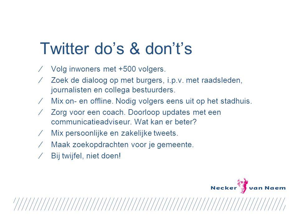 Twitter do's & don't's ⁄Volg inwoners met +500 volgers.