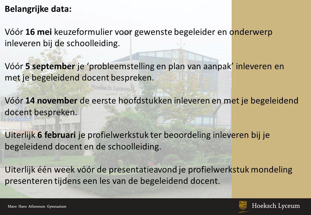 Belangrijke data: Vóór 16 mei keuzeformulier voor gewenste begeleider en onderwerp inleveren bij de schoolleiding.