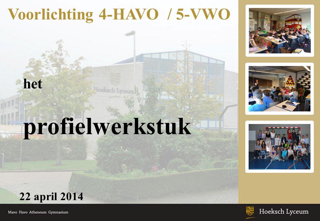 het profielwerkstuk 22 april 2014 Voorlichting 4-HAVO / 5-VWO