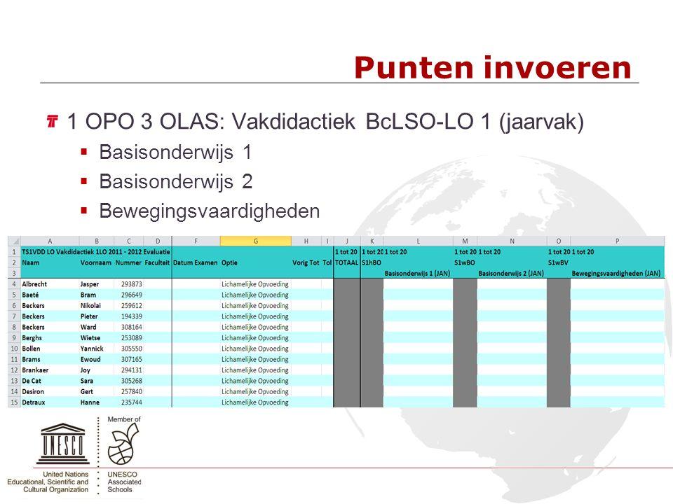 Punten invoeren 1 OPO 3 OLAS: Vakdidactiek BcLSO-LO 1 (jaarvak)  Basisonderwijs 1  Basisonderwijs 2  Bewegingsvaardigheden