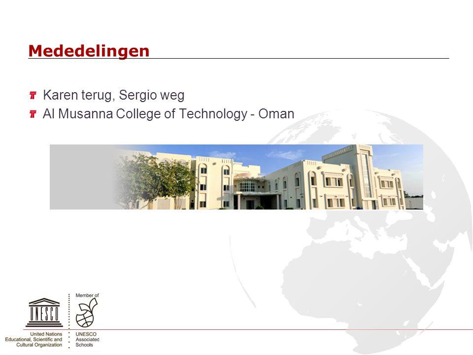 Mededelingen Karen terug, Sergio weg Al Musanna College of Technology - Oman