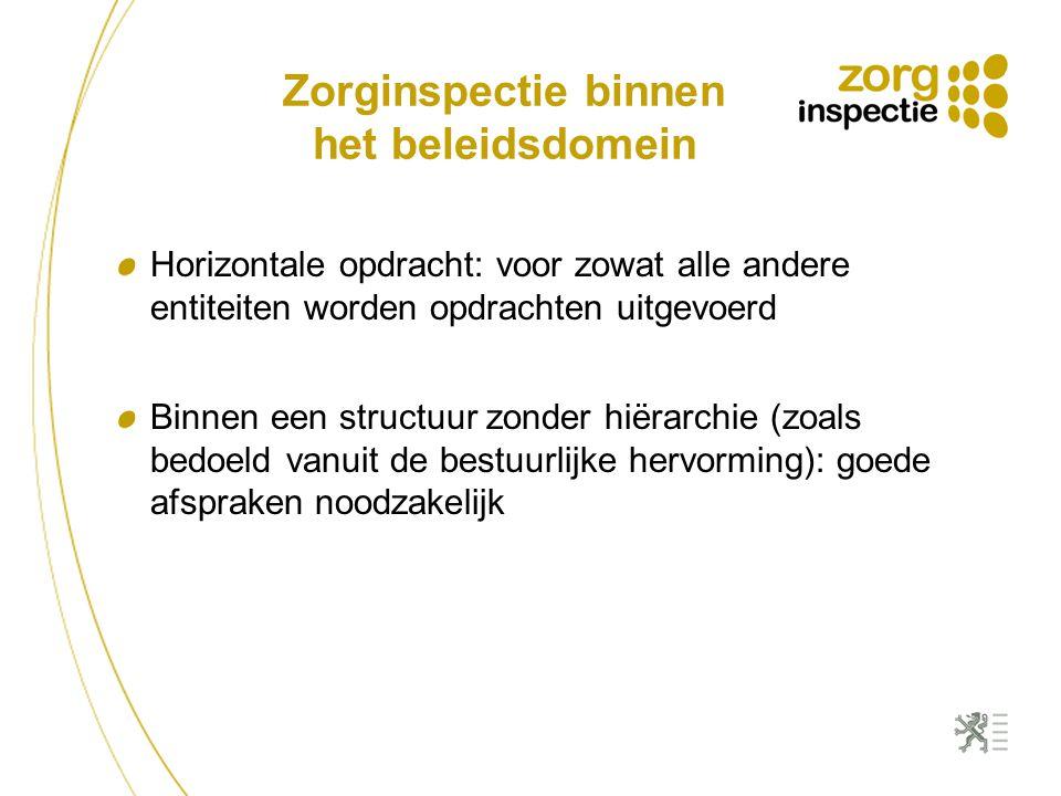 Zorginspectie binnen het beleidsdomein Horizontale opdracht: voor zowat alle andere entiteiten worden opdrachten uitgevoerd Binnen een structuur zonder hiërarchie (zoals bedoeld vanuit de bestuurlijke hervorming): goede afspraken noodzakelijk
