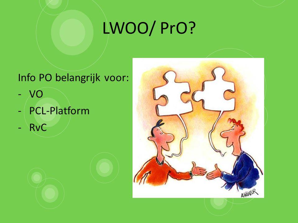 LWOO/ PrO? Info PO belangrijk voor: -VO -PCL-Platform -RvC
