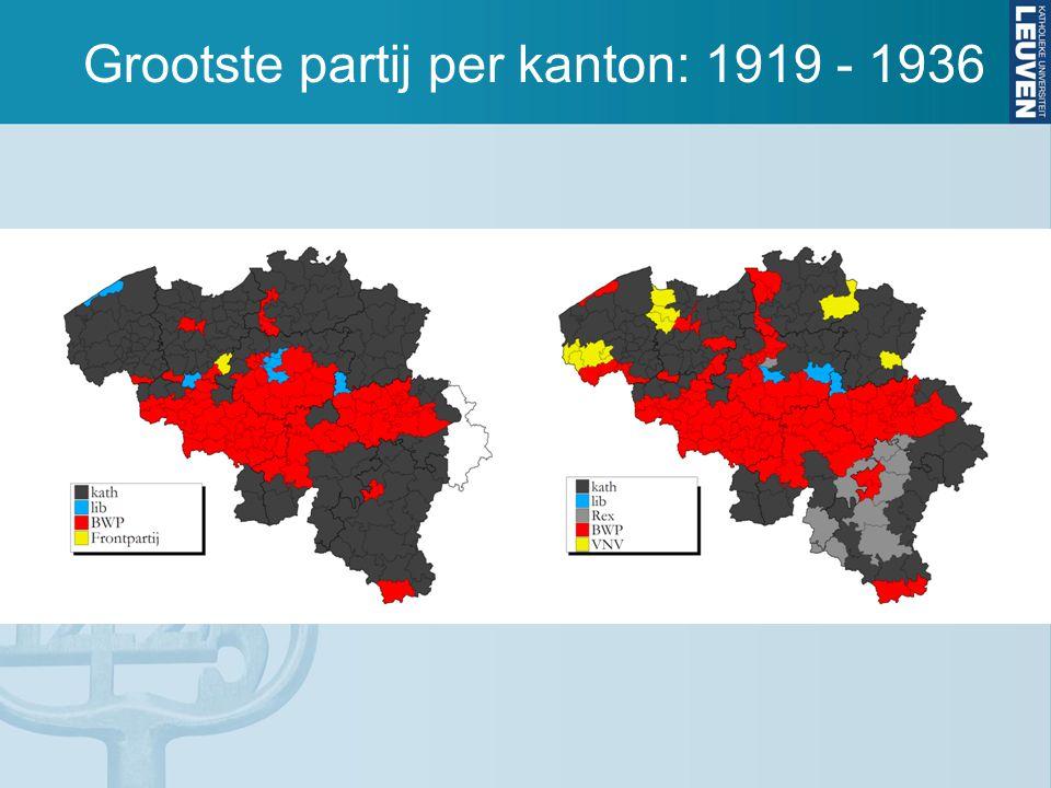 Grootste partij per kanton: 1919 - 1936