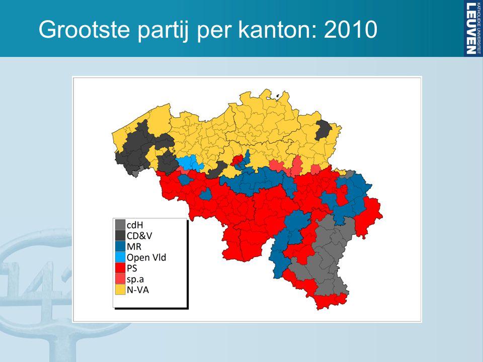 Grootste partij per kanton: 2010