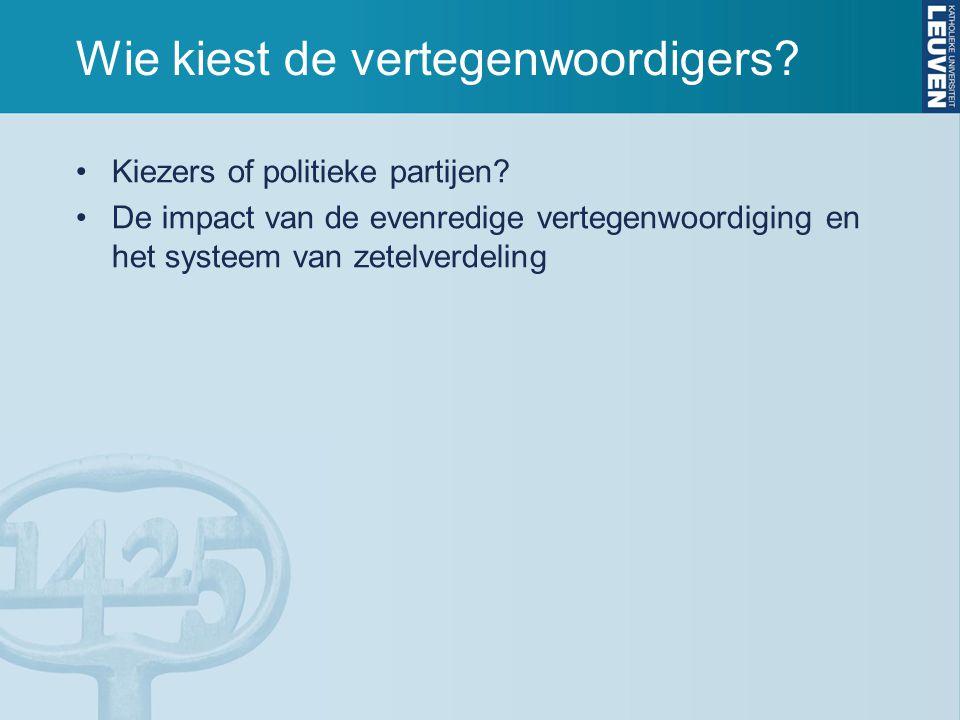 Wie kiest de vertegenwoordigers.Kiezers of politieke partijen.