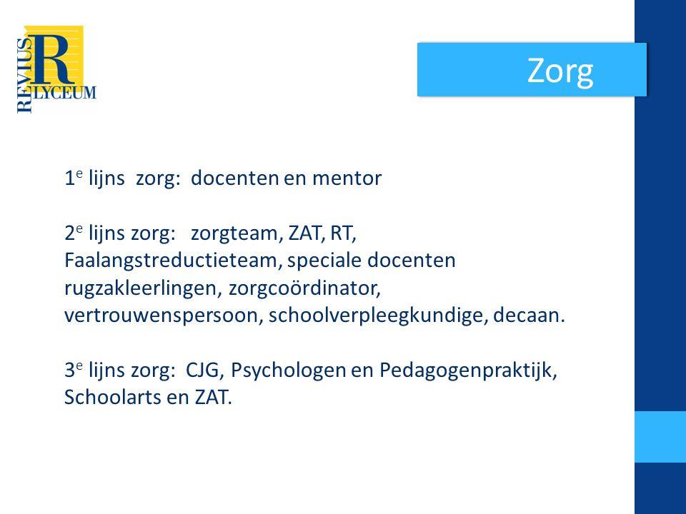 Zorg 1 e lijns zorg: docenten en mentor 2 e lijns zorg: zorgteam, ZAT, RT, Faalangstreductieteam, speciale docenten rugzakleerlingen, zorgcoördinator, vertrouwenspersoon, schoolverpleegkundige, decaan.