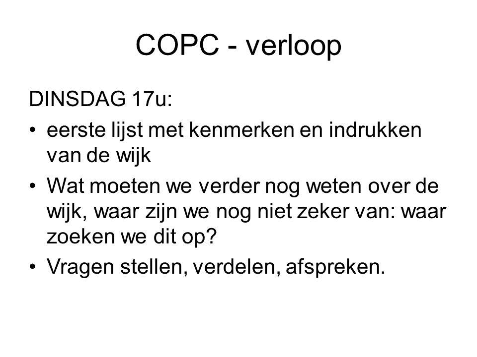 COPC - verloop DINSDAG 17u: eerste lijst met kenmerken en indrukken van de wijk Wat moeten we verder nog weten over de wijk, waar zijn we nog niet zeker van: waar zoeken we dit op.