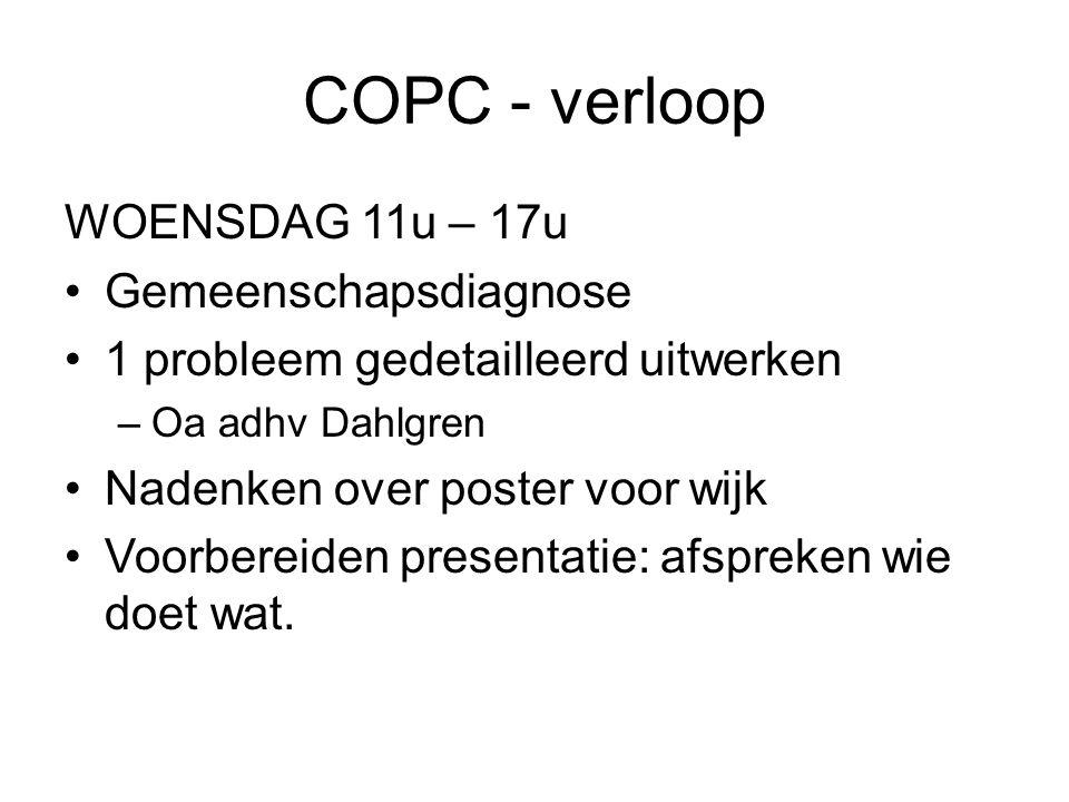 COPC - verloop WOENSDAG 11u – 17u Gemeenschapsdiagnose 1 probleem gedetailleerd uitwerken –Oa adhv Dahlgren Nadenken over poster voor wijk Voorbereiden presentatie: afspreken wie doet wat.