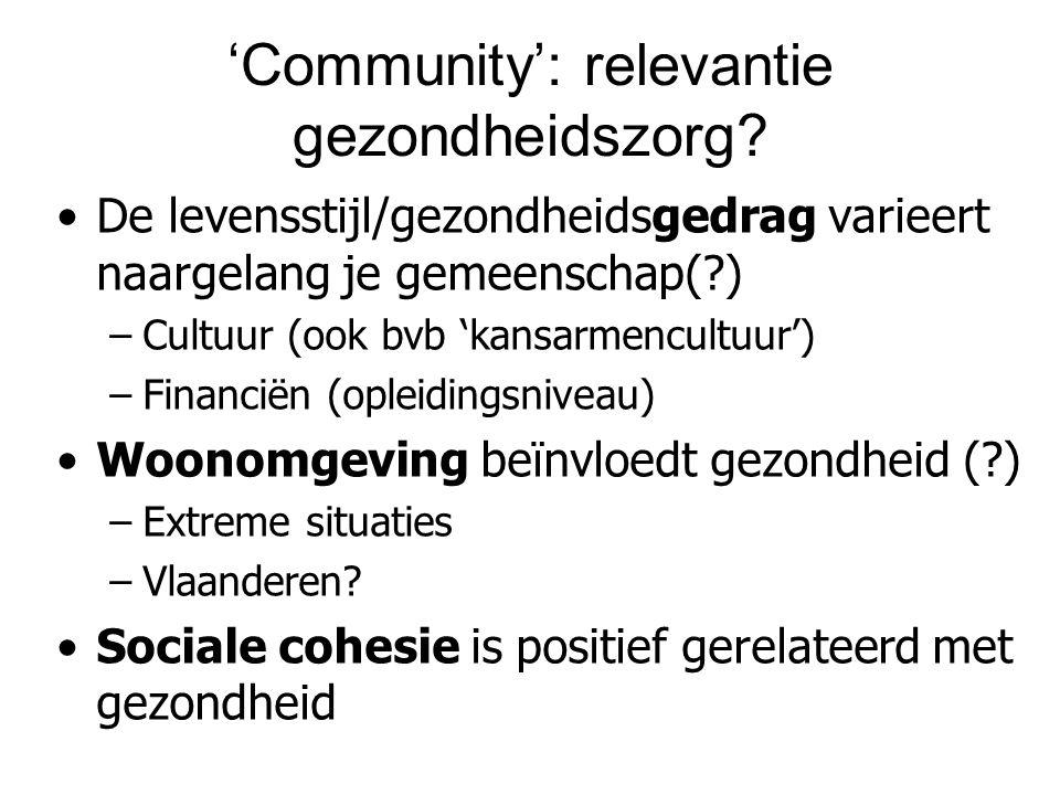 'Community': relevantie gezondheidszorg? De levensstijl/gezondheidsgedrag varieert naargelang je gemeenschap(?) –Cultuur (ook bvb 'kansarmencultuur')