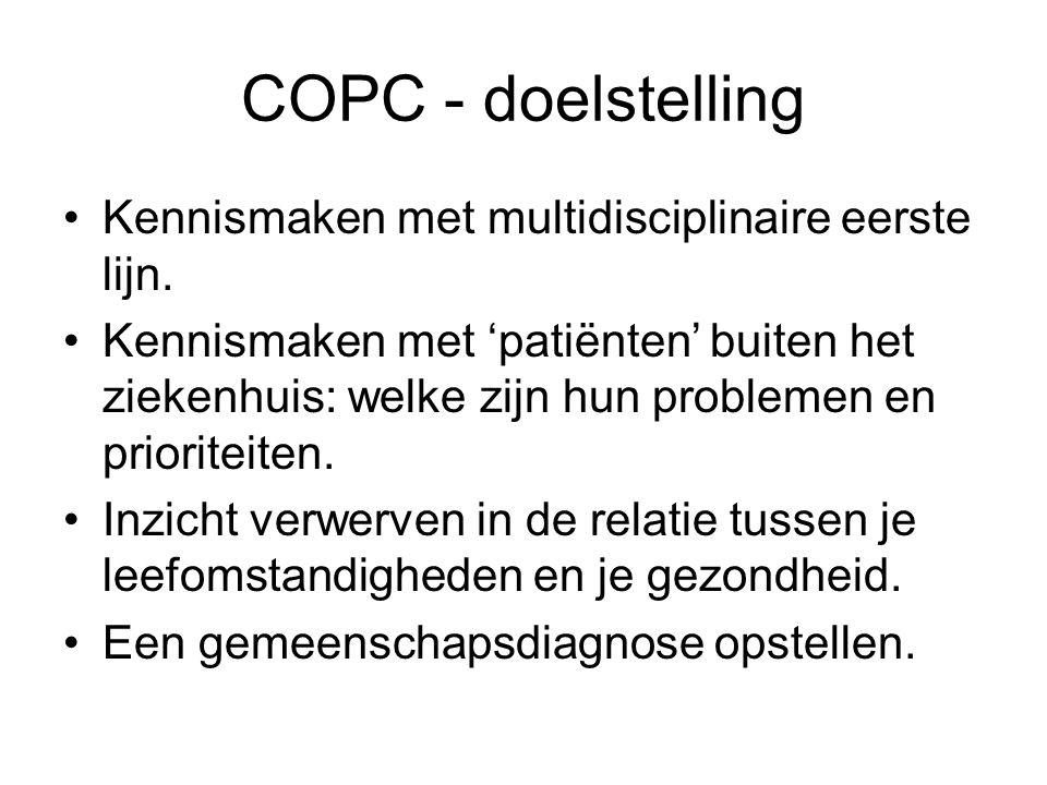 COPC - doelstelling Kennismaken met multidisciplinaire eerste lijn. Kennismaken met 'patiënten' buiten het ziekenhuis: welke zijn hun problemen en pri