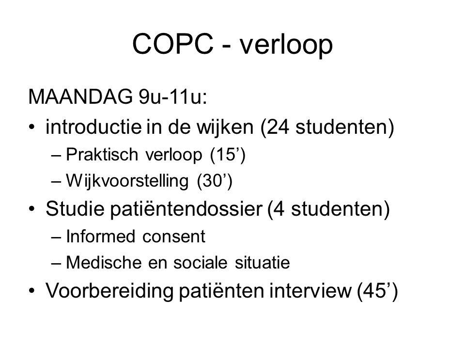 COPC - verloop MAANDAG 9u-11u: introductie in de wijken (24 studenten) –Praktisch verloop (15') –Wijkvoorstelling (30') Studie patiëntendossier (4 stu