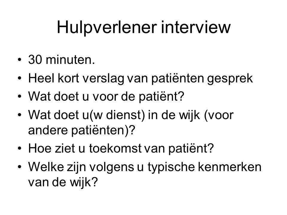 Hulpverlener interview 30 minuten. Heel kort verslag van patiënten gesprek Wat doet u voor de patiënt? Wat doet u(w dienst) in de wijk (voor andere pa