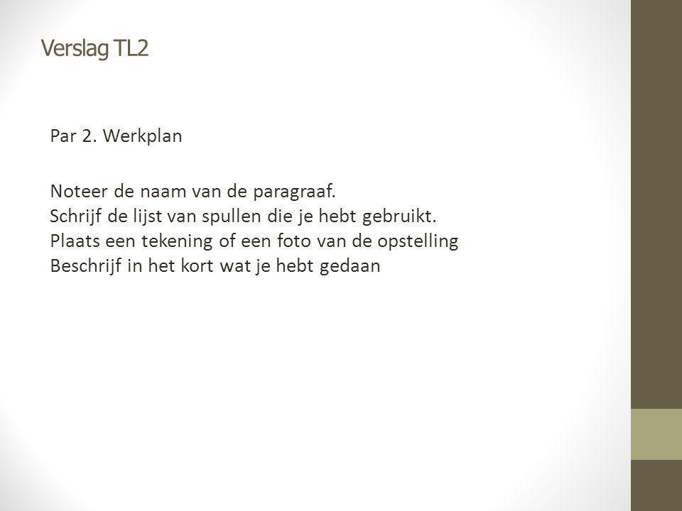 Verslag TL2 Par 2. Werkplan Noteer de naam van de paragraaf. Schrijf de lijst van spullen die je hebt gebruikt. Plaats een tekening of een foto van de