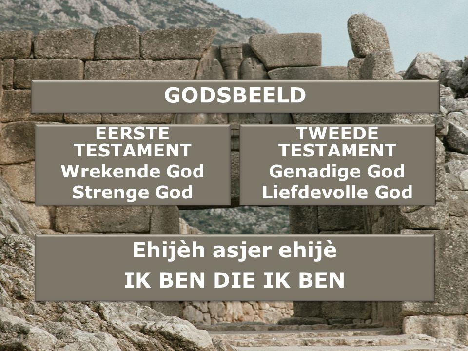 GODSBEELD EERSTE TESTAMENT Wrekende God Strenge God EERSTE TESTAMENT Wrekende God Strenge God TWEEDE TESTAMENT Genadige God Liefdevolle God TWEEDE TES