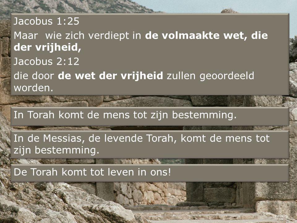 Jacobus 1:25 Maar wie zich verdiept in de volmaakte wet, die der vrijheid, Jacobus 2:12 die door de wet der vrijheid zullen geoordeeld worden.