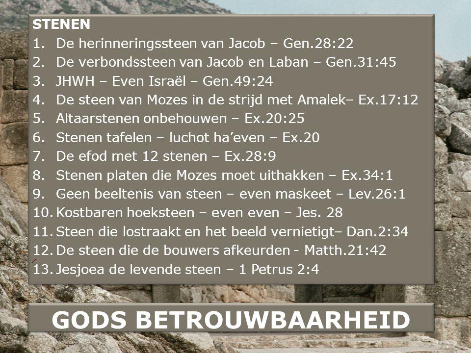 STENEN 1.De herinneringssteen van Jacob – Gen.28:22 2.De verbondssteen van Jacob en Laban – Gen.31:45 3.JHWH – Even Israël – Gen.49:24 4.De steen van Mozes in de strijd met Amalek– Ex.17:12 5.Altaarstenen onbehouwen – Ex.20:25 6.Stenen tafelen – luchot ha'even – Ex.20 7.De efod met 12 stenen – Ex.28:9 8.Stenen platen die Mozes moet uithakken – Ex.34:1 9.Geen beeltenis van steen – even maskeet – Lev.26:1 10.Kostbaren hoeksteen – even even – Jes.