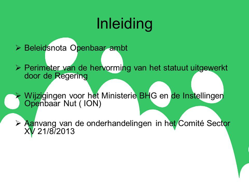 Inleiding  Beleidsnota Openbaar ambt  Perimeter van de hervorming van het statuut uitgewerkt door de Regering  Wijzigingen voor het Ministerie BHG en de Instellingen Openbaar Nut ( ION)  Aanvang van de onderhandelingen in het Comité Sector XV 21/8/2013