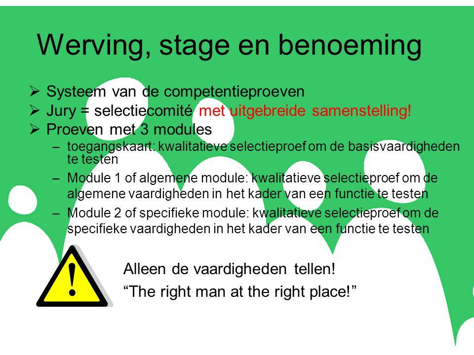 Werving, stage en benoeming  Systeem van de competentieproeven  Jury = selectiecomité met uitgebreide samenstelling.