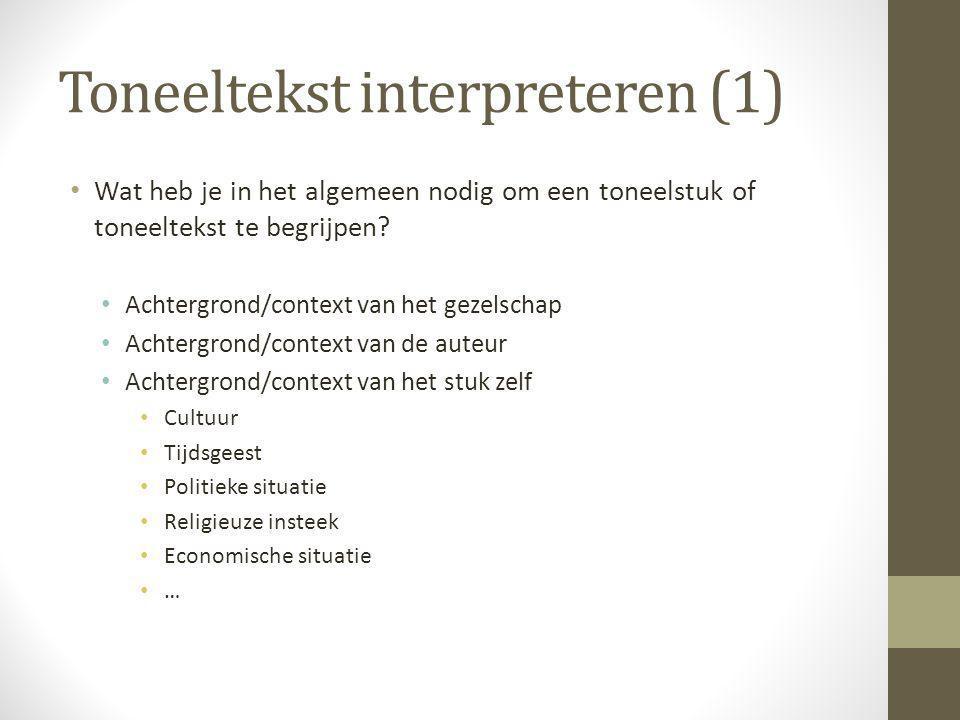 Toneeltekst interpreteren (1) Wat heb je in het algemeen nodig om een toneelstuk of toneeltekst te begrijpen? Achtergrond/context van het gezelschap A