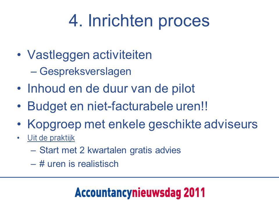4. Inrichten proces Vastleggen activiteiten –Gespreksverslagen Inhoud en de duur van de pilot Budget en niet-facturabele uren!! Kopgroep met enkele ge