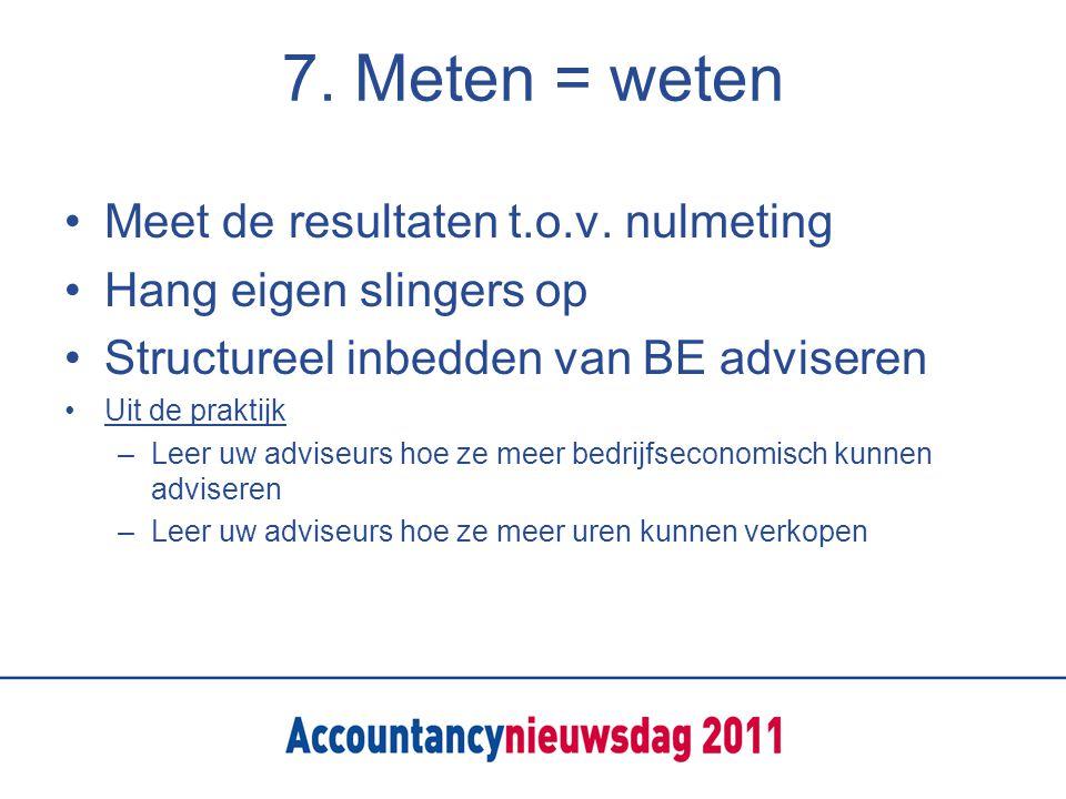 7. Meten = weten Meet de resultaten t.o.v.
