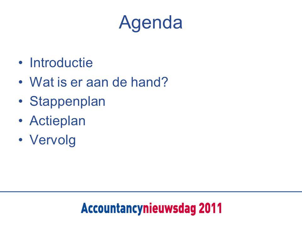 Agenda Introductie Wat is er aan de hand Stappenplan Actieplan Vervolg