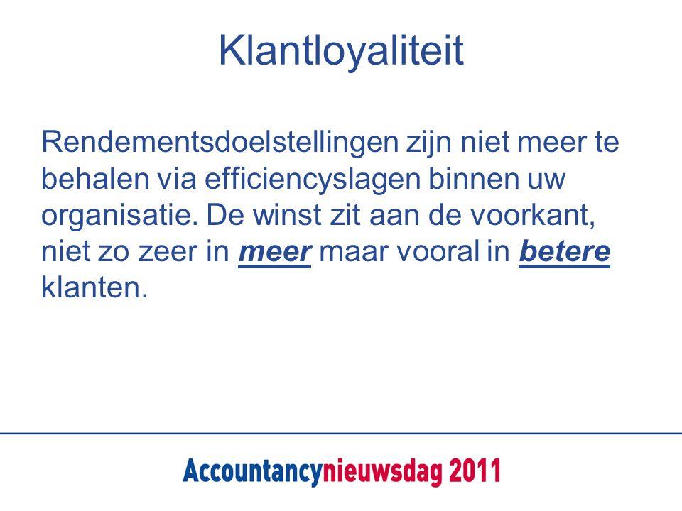 Klantloyaliteit Rendementsdoelstellingen zijn niet meer te behalen via efficiencyslagen binnen uw organisatie.