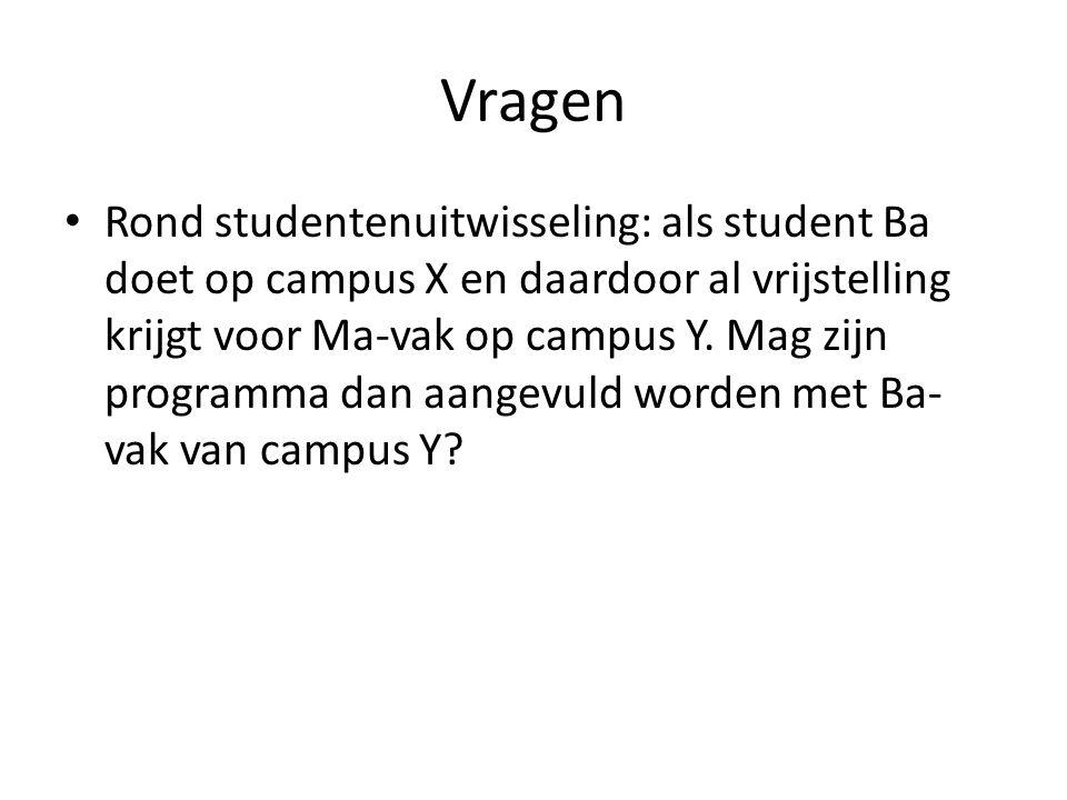 Vragen Rond studentenuitwisseling: als student Ba doet op campus X en daardoor al vrijstelling krijgt voor Ma-vak op campus Y. Mag zijn programma dan