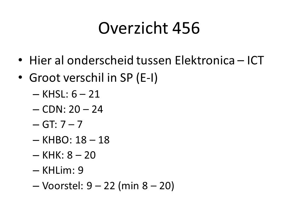 Overzicht 456 Hier al onderscheid tussen Elektronica – ICT Groot verschil in SP (E-I) – KHSL: 6 – 21 – CDN: 20 – 24 – GT: 7 – 7 – KHBO: 18 – 18 – KHK: