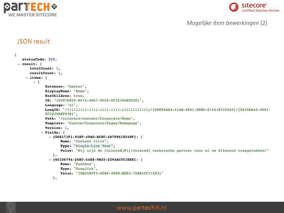 www.partechit.nl Code explanation (5) Result object vullen