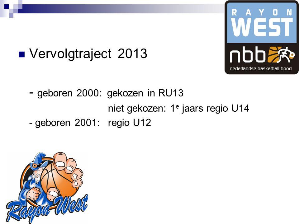 Vervolgtraject 2013 - geboren 2000: gekozen in RU13 niet gekozen: 1 e jaars regio U14 - geboren 2001: regio U12