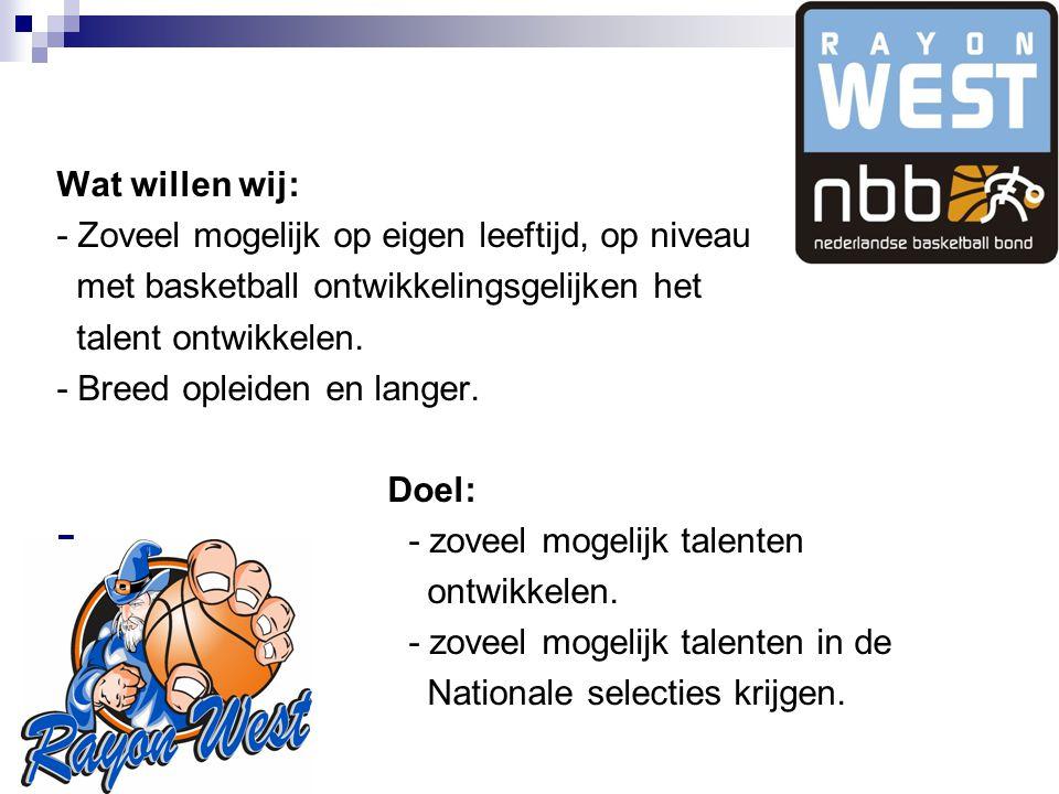 Wat willen wij: - Zoveel mogelijk op eigen leeftijd, op niveau met basketball ontwikkelingsgelijken het talent ontwikkelen.