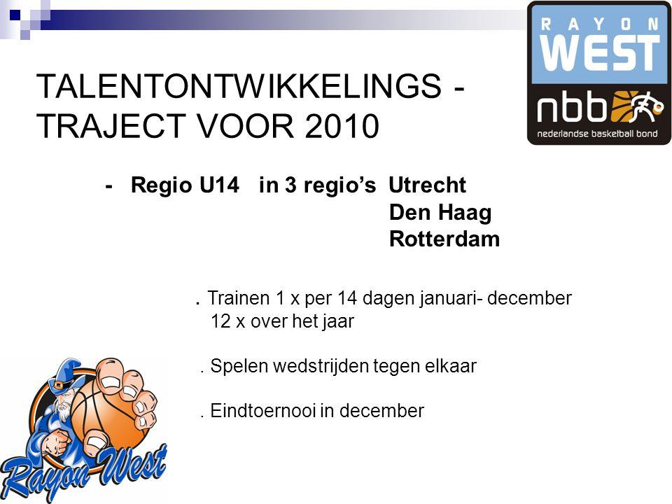 TALENTONTWIKKELINGS - TRAJECT VOOR 2010 - Regio U14 in 3 regio's Utrecht Den Haag Rotterdam.