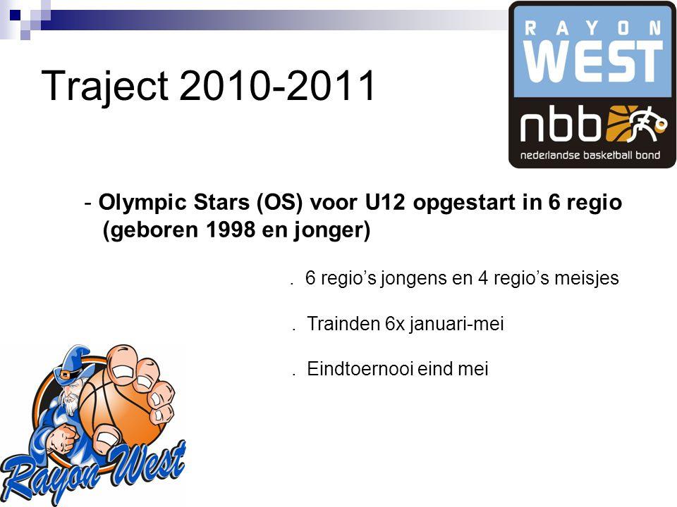 Traject 2010-2011 - Olympic Stars (OS) voor U12 opgestart in 6 regio (geboren 1998 en jonger).
