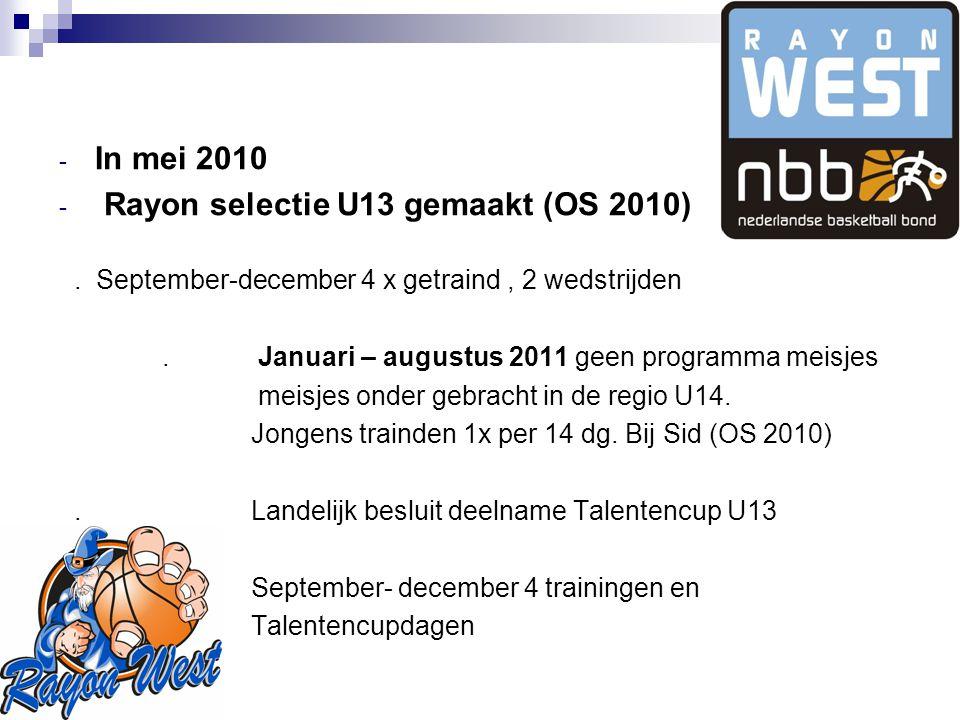 - In mei 2010 - Rayon selectie U13 gemaakt (OS 2010).