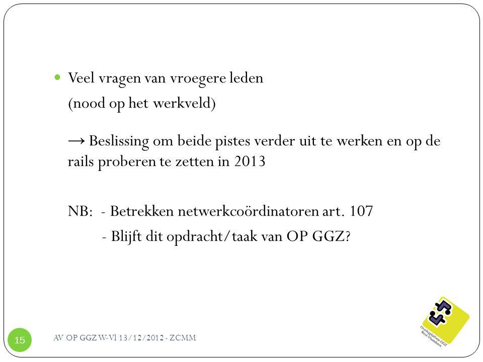 AV OP GGZ W-Vl 13/12/2012 - ZCMM 15 Veel vragen van vroegere leden (nood op het werkveld) → Beslissing om beide pistes verder uit te werken en op de r