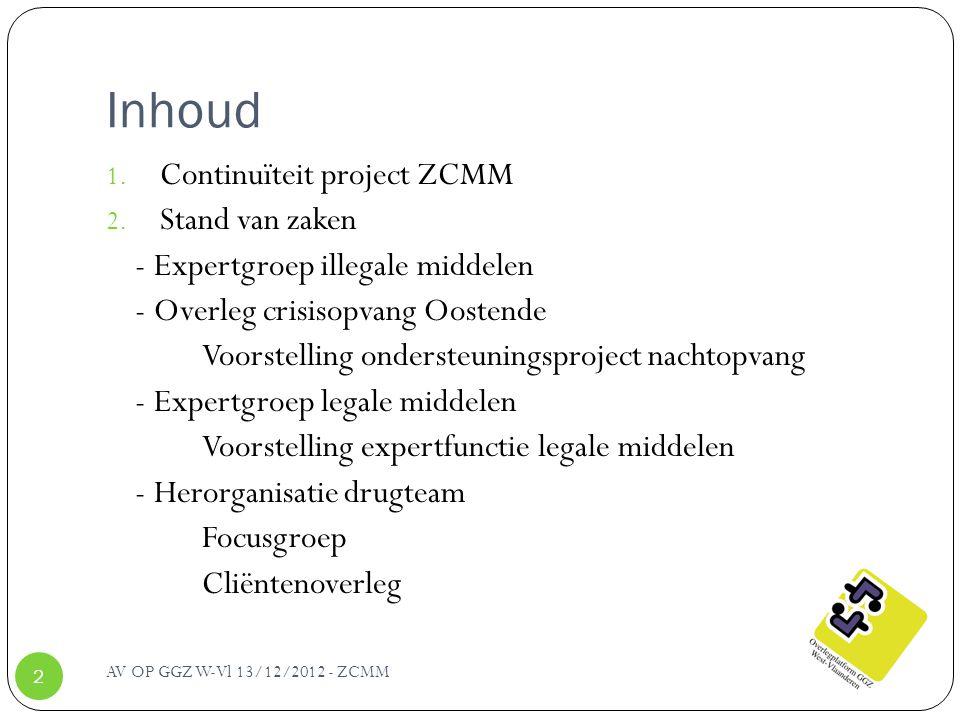 Inhoud 1. Continuïteit project ZCMM 2. Stand van zaken - Expertgroep illegale middelen - Overleg crisisopvang Oostende Voorstelling ondersteuningsproj